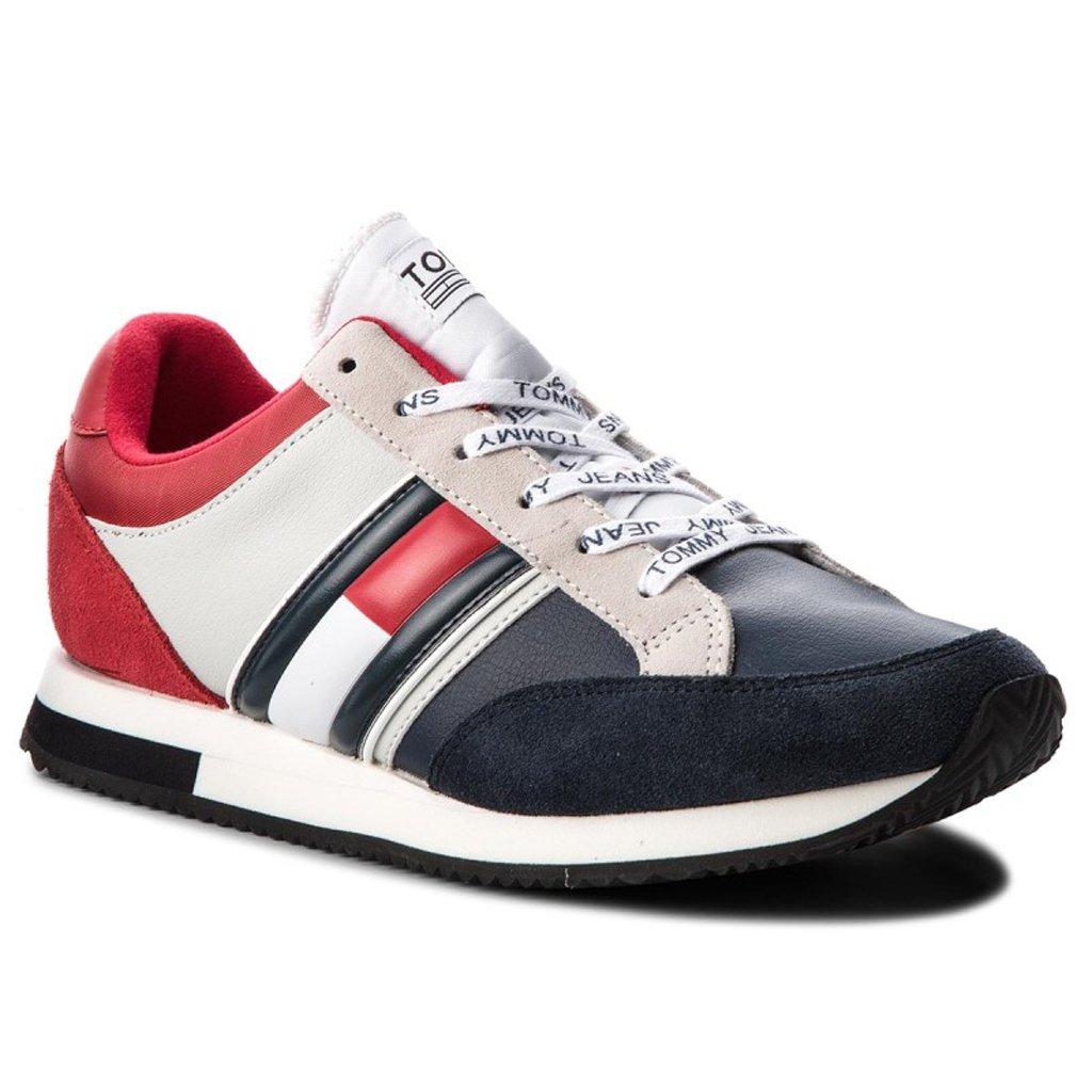 295afe47d37f7 Sneakersy TOMMY JEANS Casual Retro Sneaker EM0EM00112 Rwb 020 | On \ Obuwie  \ Buty niskie TOMMY HILFIGER Marki_Banery \ TOMMY HILFIGER Marki \ Tommy ...